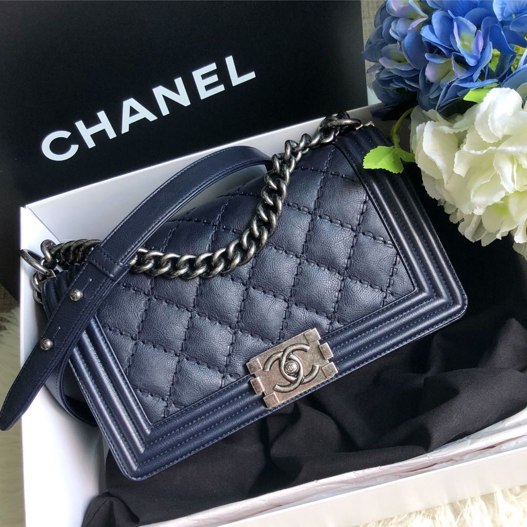 0a58915f8cd131 ❌SOLD!❌ Save 1.5k! Chanel Le Boy Flap Old Medium In Midnight Blue ...