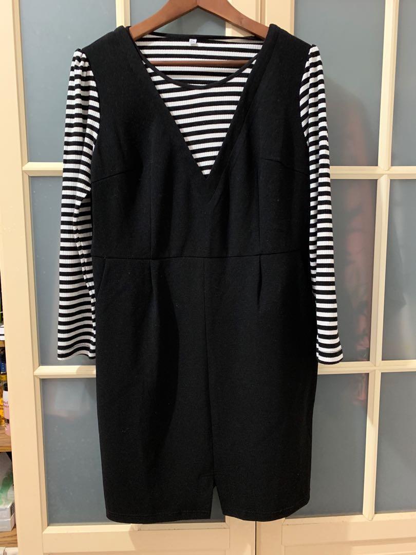韓國店黑色假兩件長袖洋裝XL號近全新