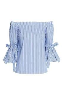 H&M Striped Off Shoulder Top