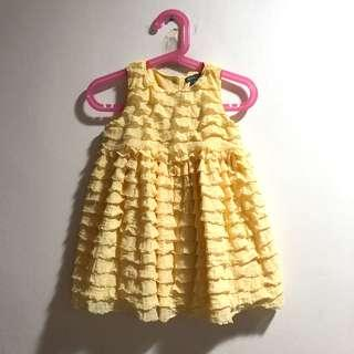Baby Gap layered dress in canary yellow