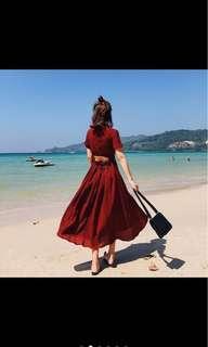 V neck backless long dress