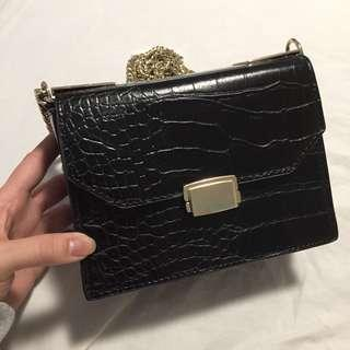 Zara Vintage Pebbled Leather Box Bag