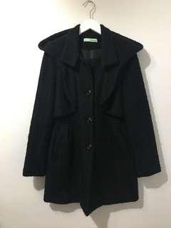 百貨品牌 專櫃正品 T-paris 羊毛 黑色 大衣 外套