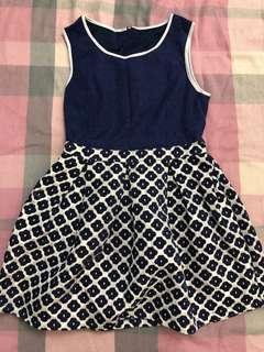 ASOS 羊毛深藍+白色色連身裙 #跟我一起半價出清