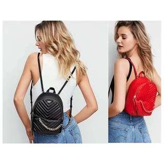 ⚡PO SALE⚡ VS Victoria's Secret Quilted Chain Embellishment Zipper Backpack Haversack Bag (Black, Red) PO1117002130  + FREE Post!