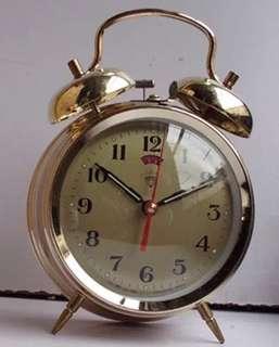 上海鑽石牌 全銅機芯94年生產 金色機械鬧鐘 成色新