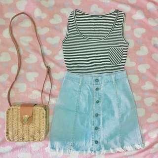 Bundles: Top & Denim Skirt