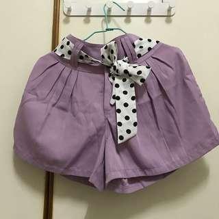 🚚 紫色雪紡綁帶短褲