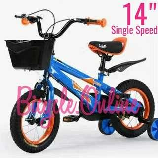 "Brand New 14"" Kids / Children Bicycle ☆ complete with basket & training wheels"