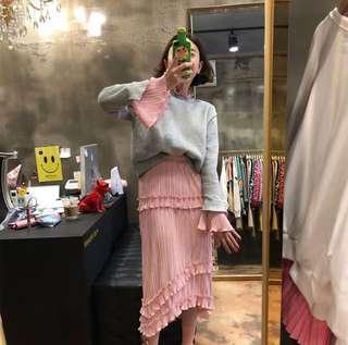 🚚 韓國假兩件拼接上衣+皺摺蛋糕裙二件式套裝