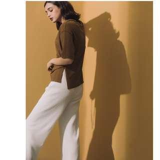 (全新) 仙氣逼人壓紋落地褲 超舒適顯瘦顯腿長寬褲 Meier.Q 大饅大力設計款