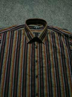 BRUNO PIATELLI Striped Shirt Short Sleeve Size L fit XL