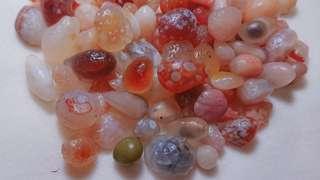【只賣有緣人】內蒙古阿拉善戈壁精品粉紅橘系花眼+糖心瑪瑙原石550g-DIY收藏, 奇石, 戒面, 墜面