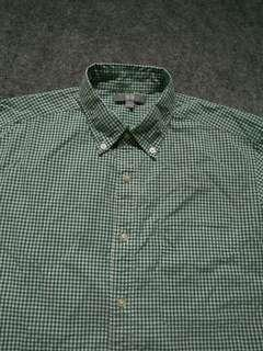 UNIQLO Button-down Green Gingham Shirt Long Sleeve Size M