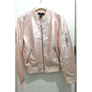 Forever21 metallic pink bomber jacket