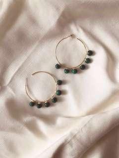 NEW Pomelo - Gold Hoop Green Marbles Earrings