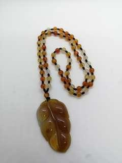 Chalcedony Leaf Necklace 石髓链子