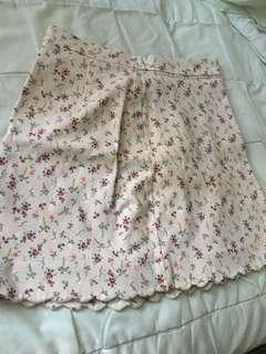 H&M pink floral scalloped skirt size 8