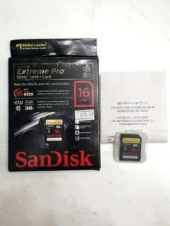 Sandisk Extreme Pro SDHC UHS-1 16GB memory card