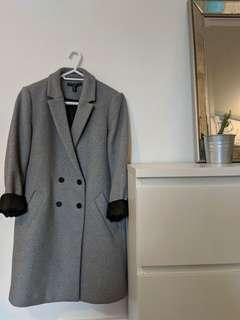 Zara trf Masculine Grey Wool Double Breasted Coat (Size L)