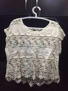 Nude beige lace crochet sleeved top