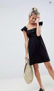 🚚 ASOS Mini Smock Dress w Tassel Frills Sleeves