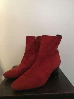 Top Shop Red Suede Booties Size 38