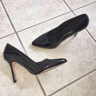 Shiny Black Stiletto Heels