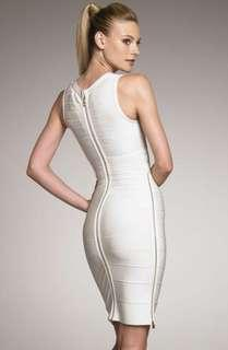 Authentic HERVE LEGER eggshell off-white and gold zip dress Small