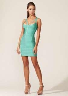 Authentic HERVE LEGER Julianna aqua dress XS extra-small