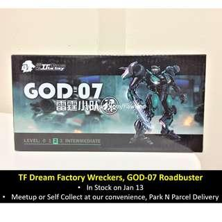 (In Stock) TF Dream Factory Wreckers, GOD-07 RoadBuster, DOTM Transformers