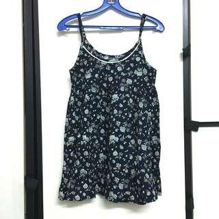 Blue Floral spag top dress flare navy cami camisole