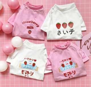 BN Super Cute and Sweet CHUU Strawberry and Milk Pets Cats Dogs Tee!