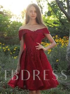 off the shoulder red formal/prom dress