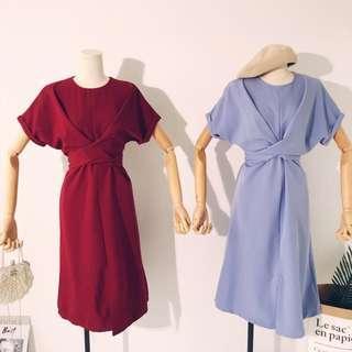 Short sleeve cross-wrap long dress