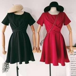 Short sleeve ribbon dress