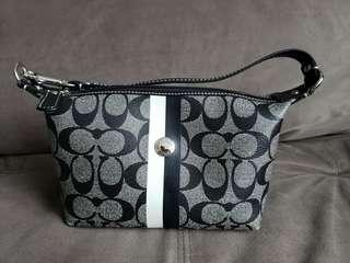 Coach Coated Canvas Mini Bag with Black and White Stripes