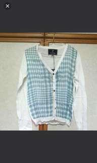 🚚 [BNWT] White Cardigan With Green Checkers