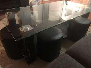 Black wooden frame glass top table with stools
