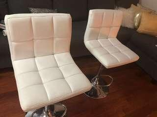 White leather padded bar seat
