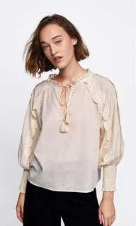 🚚 Zara 流蘇繩帶罩衫 燈籠袖襯衫 純棉罩衫(S)~原價1190元