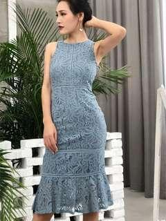 🚚 Mermaid Lace Dress in Blue