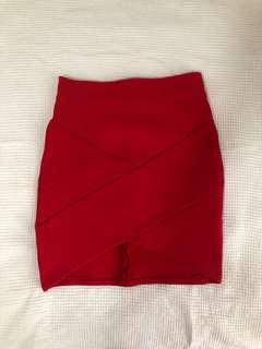 Red Bodycon Skirt - Size 6