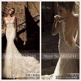 Free delivery to door step. Bareback White Lace Mermaid Wedding Gown dress
