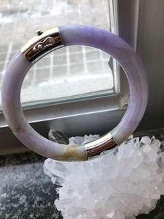 Real old jade (ascendant purple colour)with silver hand made lock bracelet /真舊玉(帶紫色)及手做銀開關扣手鐲