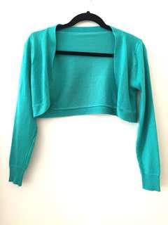 Teal-green Cropped Cardigan