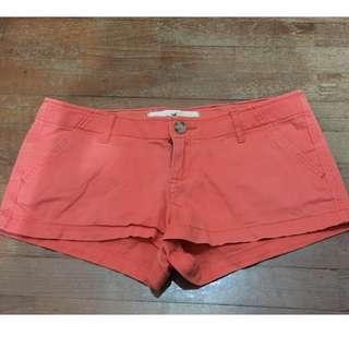 HOLLISTER Orange Low Waist Demin Jeans Shorts