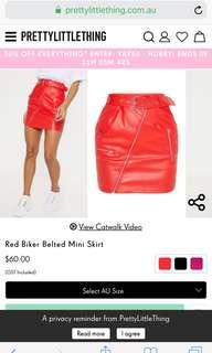 red biker belted leather skirt