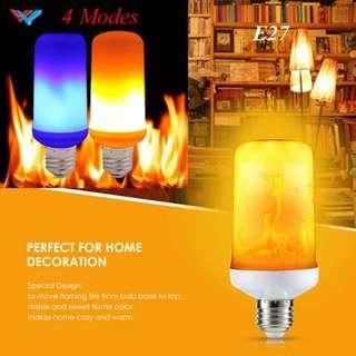 E27 LED Flame Effect Fire Light Bulb Flickering Flame Lamp with 2pin power adapter