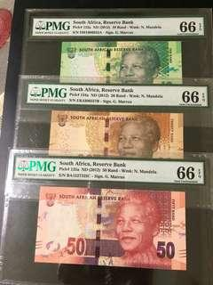 South Africa - Set of 5 pcs 10, 20, 50, 100 & 200 Rand, PMG 66 EPQ.